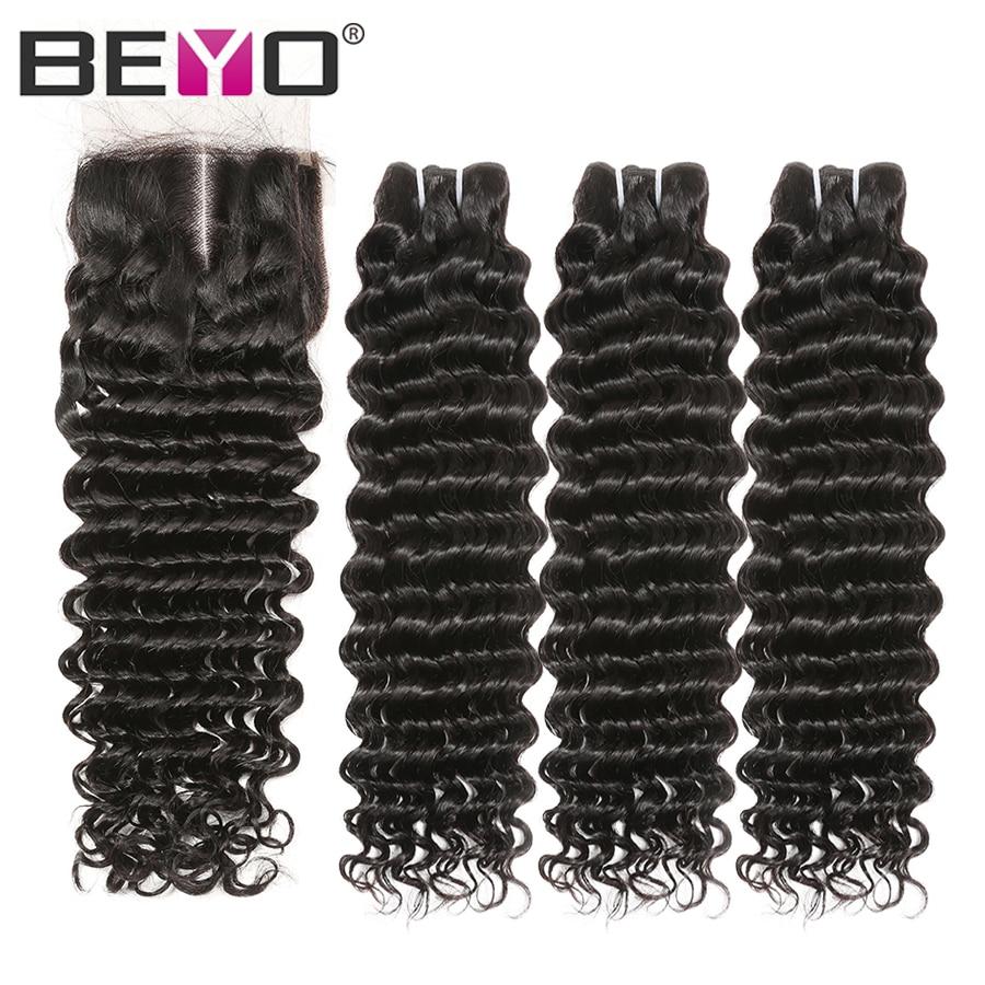 Deep Wave Bundles With Closure Malaysian Hair Bundles With Closure Hair Extensions Non Remy Human Hair Bundles With Closure Beyo-in 3/4 Bundles with Closure from Hair Extensions & Wigs    1