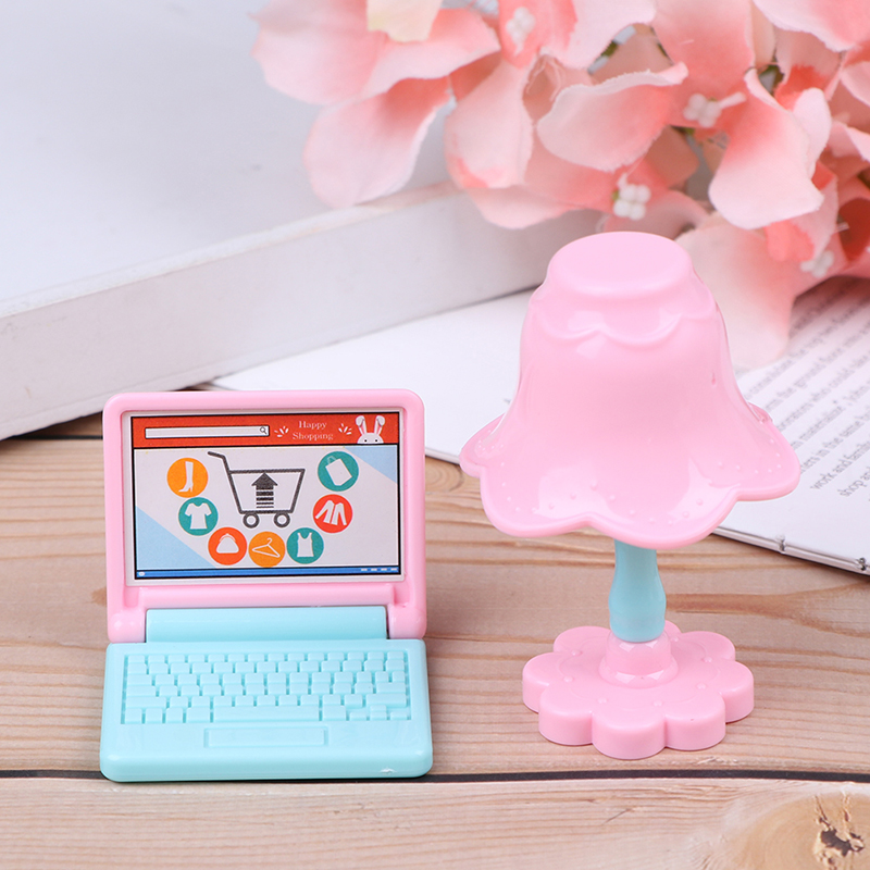 1Set Cute Doll House Lamp + Computer Miniature Furniture Toys Doll Role Playing Props Worktable Table Doll Accessories