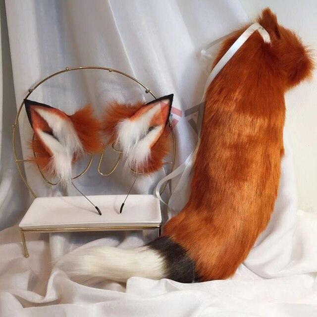MMGG nouveau renard rouge doré oreille loups et chats renard oreille cheveux cerceau chapeaux queue pour fille femmes de haute qualité