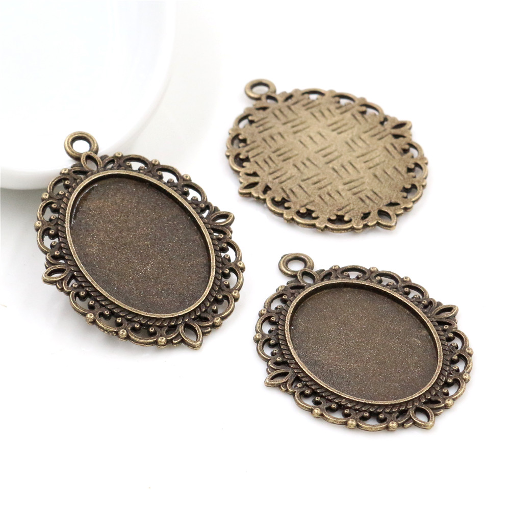 10pcs 18x25mm Inner Size Antique Bronze Flowers Style Cameo Cabochon Base Setting Charms Pendant Necklace Findings  (C3-03)