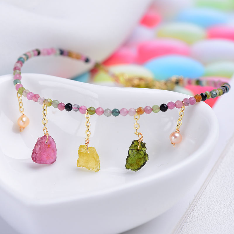 Lii Ji Unique Geniune Tourmaline Pearl Anklets Bracelet For Women Charms Anklet Leg Bracelet Bohemian Beach Ankle Jewelry Gift