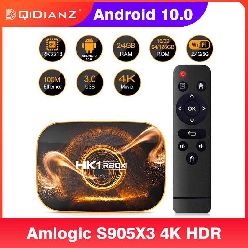 สมาร์ทAndroid 10กล่องทีวีHK1 RBOX R1 RK3318 4K 1080P Google Play Wifi HK1RBOX PK H96 X96 max Android 10.0 Set Top Box