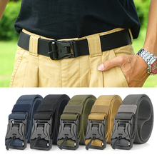 49.2 Inch Adjustable Webbing Belt Men Women Belts with Quick Release Magnetic Buckle for Outdoor Camping Hiking Nylon