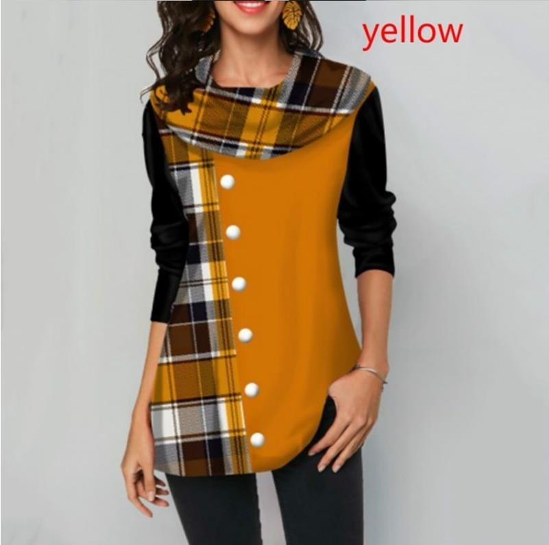 Shirt Blouse Women Spring Stitching Plaid Button Decorate Long Sleeve Shirt Ladies Casual Loose Plus Size Blouse Tops S-5XL