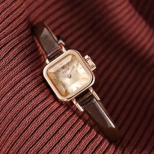 Image 2 - Dziewczyna unikalne kwadratowe małe zegarki damskie zegarki damskie cienki skórzany pasek zegarki kwarcowe różowe złoto kobiece moda zegarek Montre Femme