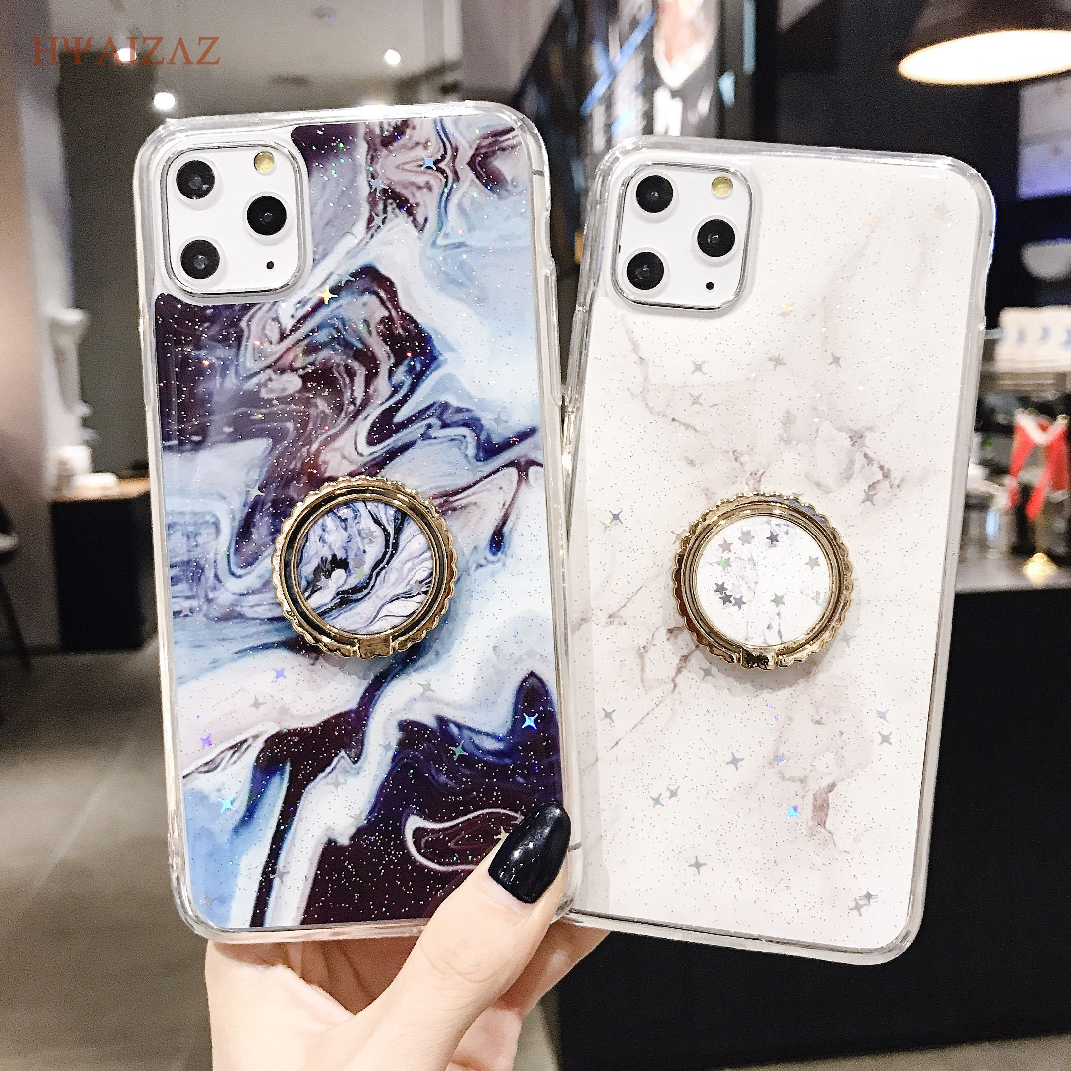 Glitter Marble Case For iPhone 11 6 6s 7 8 Plus Shell Soft TPU Ring Stand Holder Cases For iPhone 11 Pro X Xr Xs Max Cover Coque