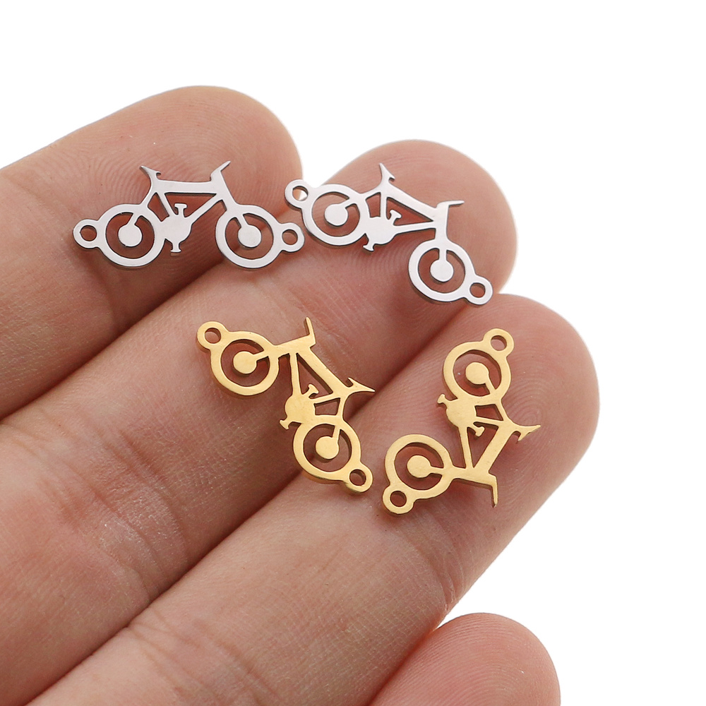 5pcs/lot Stainless Steel Sport Bike Charms Fit Bracelet Connector Charm Bracelet Necklace For DIY Anklet Earring Jewelry Making