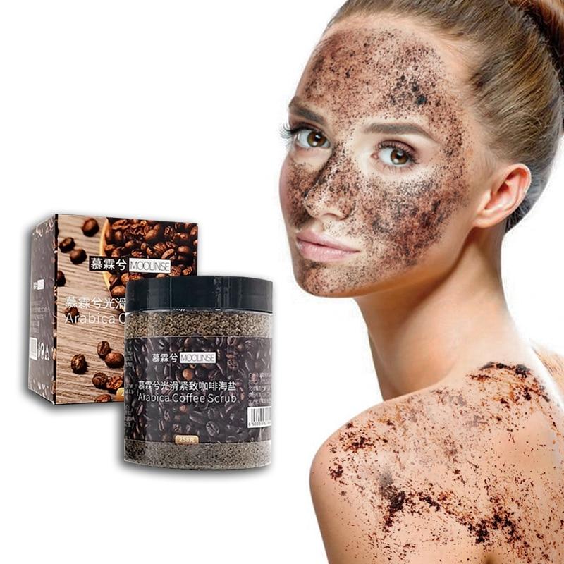 Whitening Natural Coffee Scrub Sea Salt Exfoliating Massage Cream Anti Cellulite Face Body Scrub Treatment