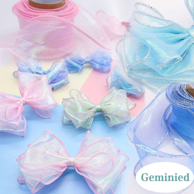 10 Yards Makaron Color Tulle Ribbon Roll With Wave Edge For Gift Packing Crafts Hairbows DIY Wrapping Flower Voile 50mm