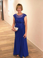 Long Royal Blue Mother of the Bride Dress Cap Sleeve Beading Lace Chiffon Wedding Party Guest Mother of the Groom Evening Gowns
