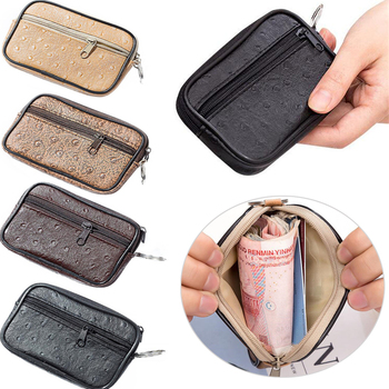 цена на Men Small Coin Bag Casual Style Zipper Change Purse Pouch Wallet Pouch Bag Purse Mini Soft Men Women Card Coin Key Holder