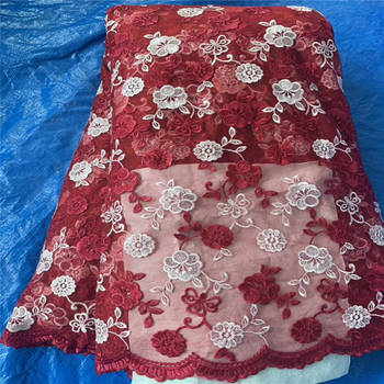 New Design Nigerian red lace fabric 5yards High quality African lace fabric for evening dress HX650-2