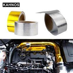 Um ouro 2 thermal thermal fita de escape térmica entrada de ar isolamento térmico escudo envoltório reflexivo barreira de calor autoadesivo motor 2 Polegada 5/10 m