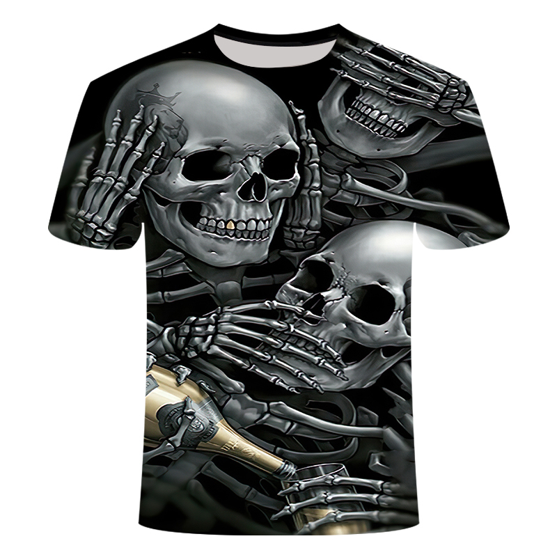 Drop Ship Summer NewFunny skull 3d T Shirt Summer Hipster Short Sleeve Tee Tops Men/Women Anime T-Shirts Homme Short sleeve tops 4