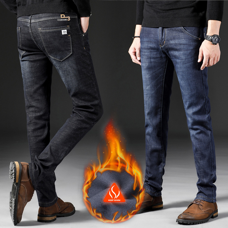 2018 Winter New Style Men's Casual Brushed And Thick Jeans Cotton Elastic Slim Fit Plus Velvet Jeans Men's