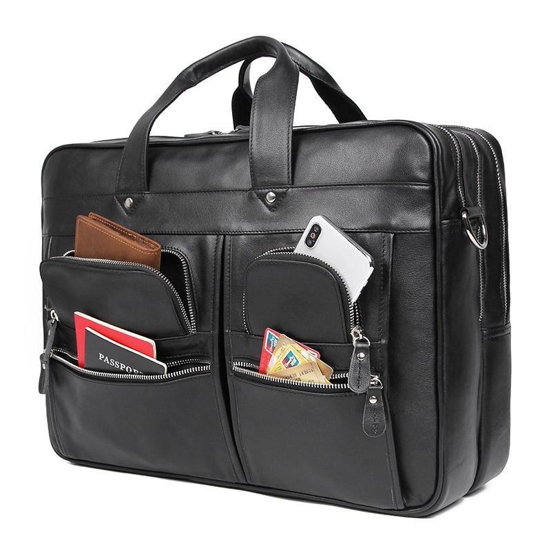 Bolsa de maletín para hombre de alta calidad, bolsa de negocios, para ordenador de 17 pulgadas, negra, marrón, nueva moda, para hombre - 2