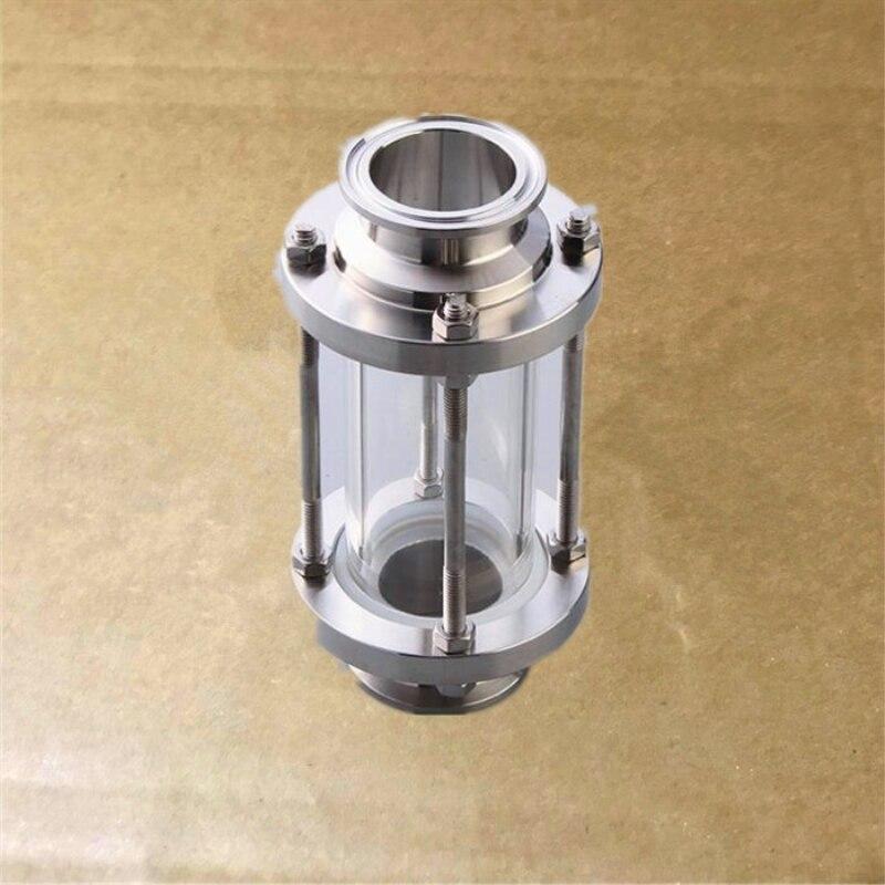 57mm Visor De Fluxo Tri Grampo Clover Sanitay Vidro Dioptria Ajuste 77mm Homebrew Encaixe do Aço Inoxidável Da Tubulação OD 304 diário Do Produto