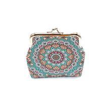 Coin Purse Wallet Clasp Ethnic-Style Mini Pattern-Bags Women's Retro Closure Geometric