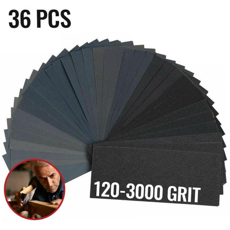 36pcs 120 220 320 400 600 800 1000 1200 1500 2000 2500 3000 Grit Sandpaper Sand Grain With Sandpaper On The Back Car Accessories
