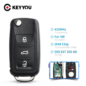 KEYYOU Remote Car Key For VW Volkswagen GOLF PASSAT Tiguan Polo Jetta Beetle Scirocco Tiguan 434MHz ID48 Chip 5K0 837 202AD