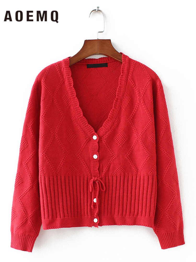 AOEMQ Winter Pullover Strickjacke Outwear V-ausschnitt Kragen Pullover Atmungs Loch Plaid mit Bogen-knoten Schnürung Frauen Pullover Kleidung