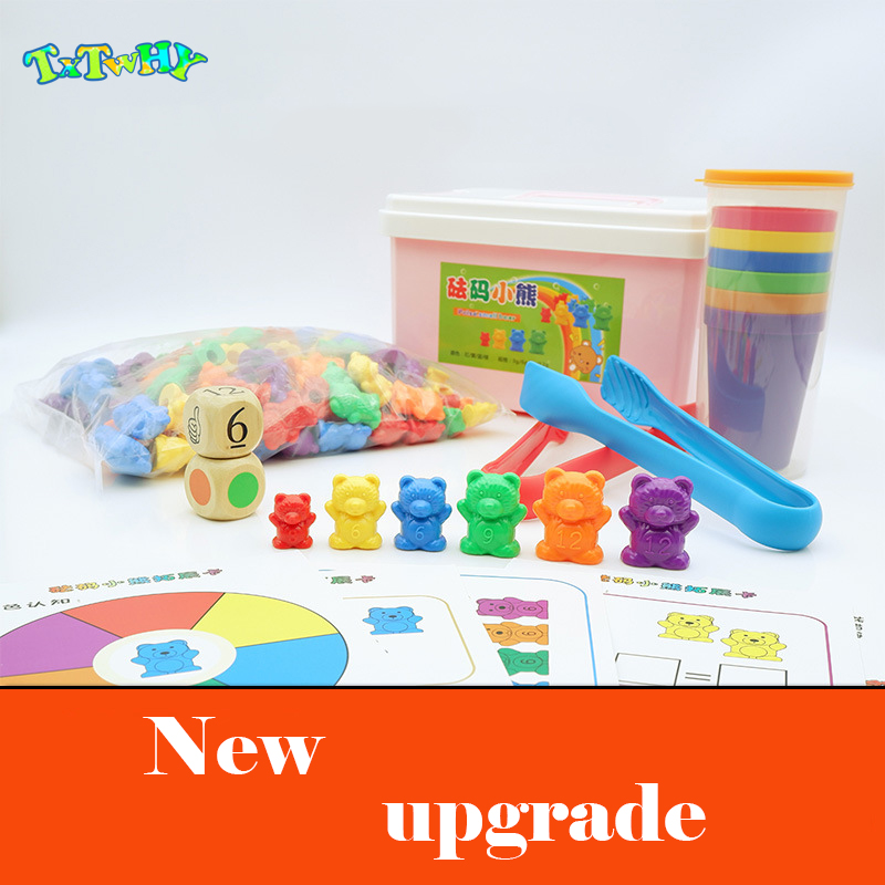 1 Set Counting Bears With Stacking Cups - Montessorily Rainbow Matching Game Educational Color Sorting Toys For Toddlers