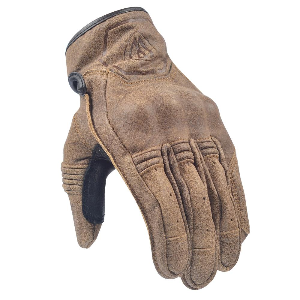Темно-коричневые винтажные Мотоциклетные Перчатки Willbros для сенсорного экрана Мужские кожаные перчатки в стиле ретро для улицы мотоцикла в...