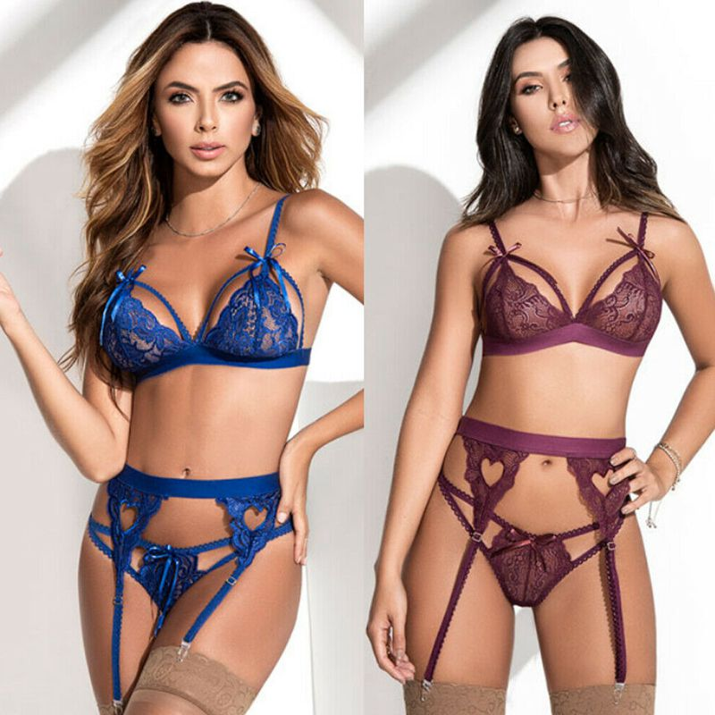 <font><b>Women</b></font> <font><b>Sexy</b></font> Lingerie Babydoll <font><b>Underwear</b></font> Lattice-Front Suspender Teddy <font><b>Set</b></font> image