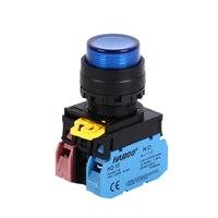 Interruptor con botón LED de 22mm, cabeza alta iluminada, momentáneo o fijo, impermeable IP65