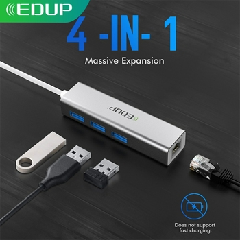 EDUP USB C HUB 1000Mbps 3 Ports USB 3.0 Type C HUB USB to Rj45 Gigabit Ethernet Adapter for MacBook Laptop Computer Accessories концентратор usb 3 0 orient jk 340 3 х usb 3 0 черный gigabit ethernet