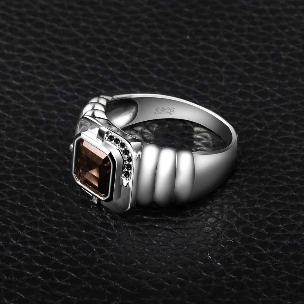 Jewelrypalace degli uomini di Quarzo Fumè Naturale Nero Spinello Anniversario di Matrimonio Anello In Argento Sterling 925