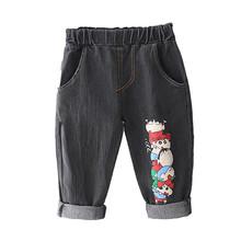 Markowe spodnie dla dzieci Cartoon spodnie moda dla dziewczynek dżinsy dla dzieci chłopcy dżinsy z dziurami dla dzieci modne spodnie dżinsowe dla niemowląt Jean odzież dla niemowląt tanie tanio anrayan COTTON Luźne Unisex PATTERN Pełnej długości Pasuje prawda na wymiar weź swój normalny rozmiar Elastyczny pas