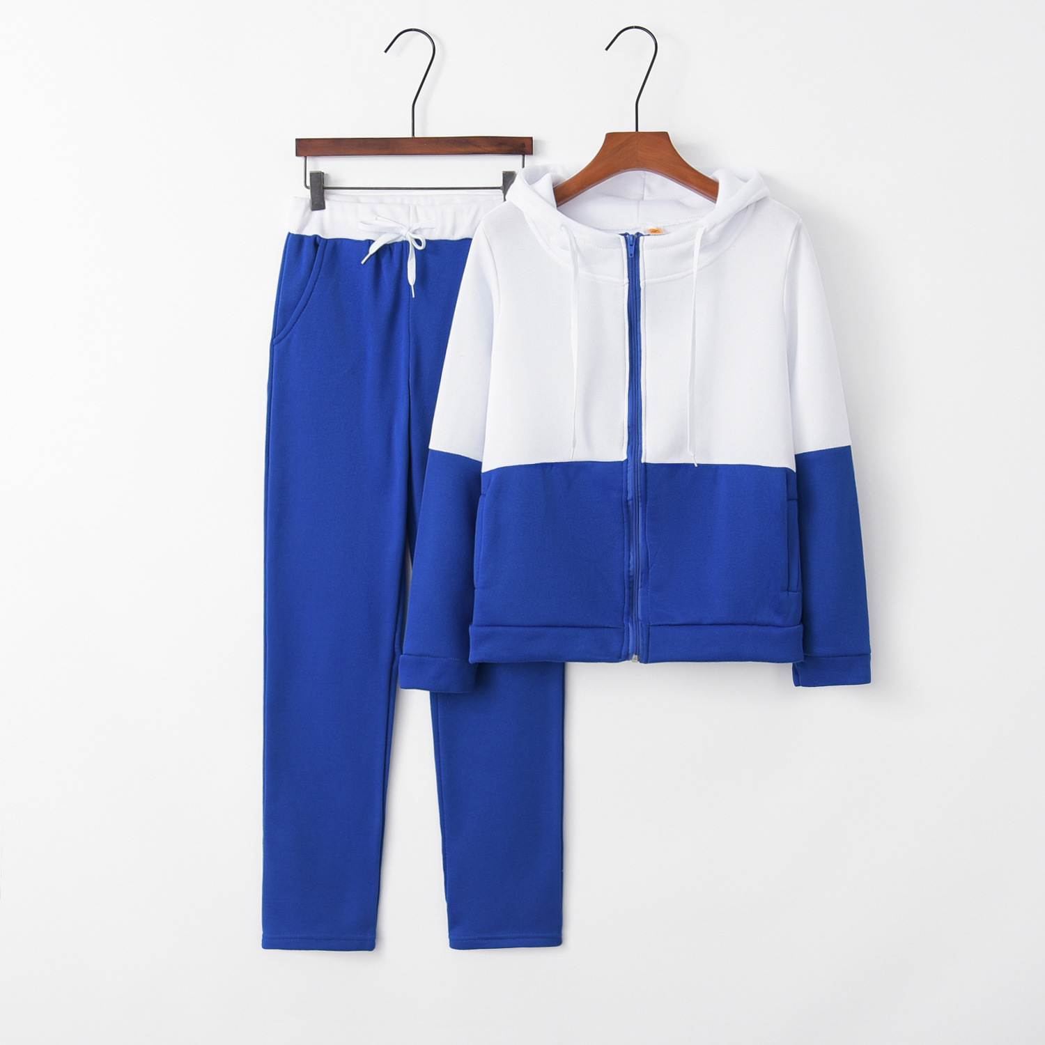 Blue outfit tracksuit for women hoodies Two Piece Set sportsuit Top And Pant suit co-ord Sweat Casual female Clothes 2019 2PCS