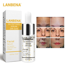 LANBENA 24K Gold Serum Peptide Essence Hyaluronic Acid Collagen Serum Vitamin Lifting Visage Whitening Skin Care Anti aging15ml gold caviar collagen serum