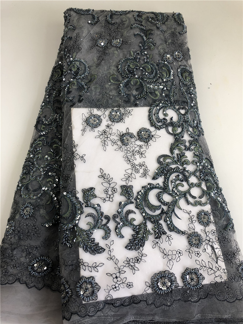 2019 pas cher prix broderie africaine Net 5 Yards perlé dentelle tissu français fleurs dentelle tissu H0198