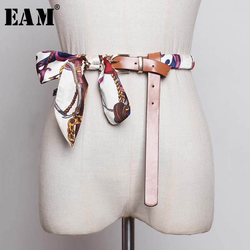 [EAM]  Pu Leather Scarf Split Joint Bandage Long Belt Personality Women New Fashion Tide All-match Spring Autumn 2020 1B855