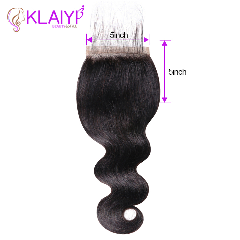 KLAIYI Brazilian 5*5 Closure Remy Hair Free Part Natural Black Color Human Hair Body Wave Lace Closure With Boby Hair