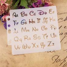 Letra do alfabeto Stencils Template Pintura Scrapbooking Embossing Stamping Cartão Álbum DIY