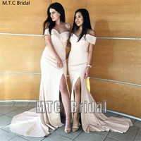 Mermaid Long Bridesmaid Dresses With Slit Off The Shoulder Elastic Satin Plus Size Prom Gowns Wholesale Wedding Party Dress