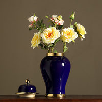 Antique Royal Handpainted Blue and white Ceramic Golden General Tank Vase Fortune Hat covered Ginger Jars Ornament Creative Gift