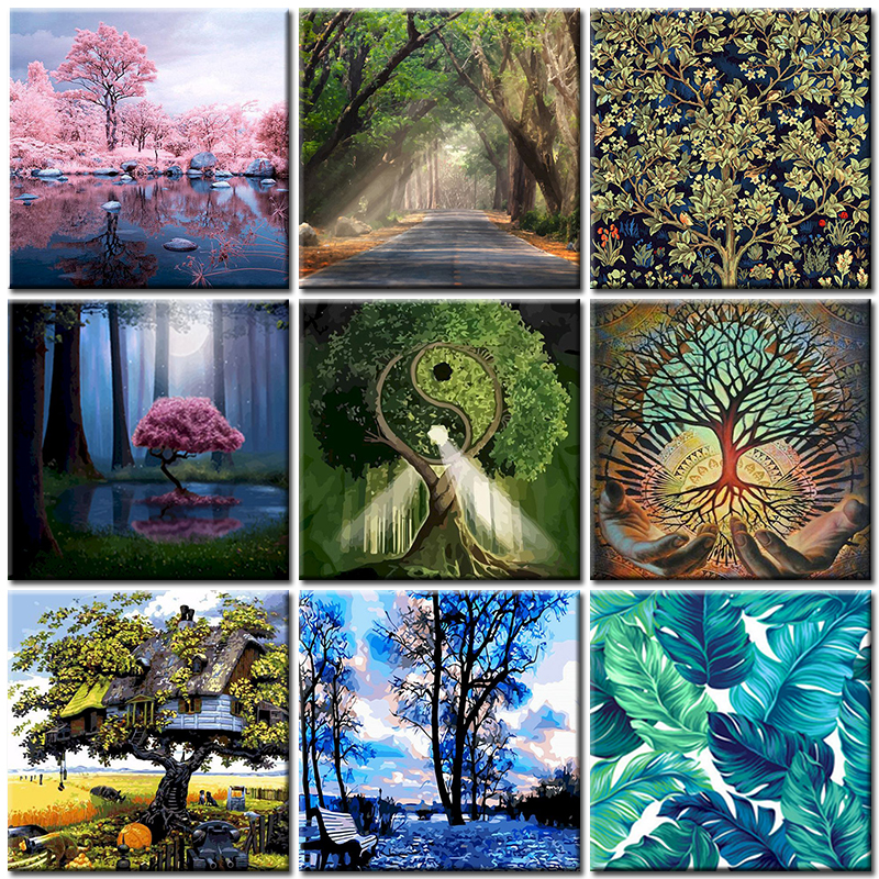 Tree Oil Painting By Numbers For Adult With Frame DIY Abstract Green Landscape Acrylic Paint Art Coloring Decoration Picture Kit