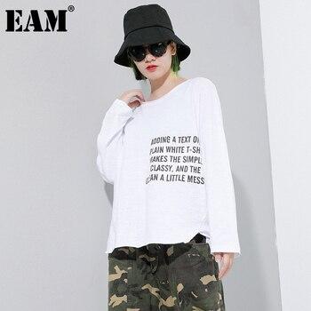[EAM] Women black White Pattern Printed Big Size  T-shirt New Round Neck Long Sleeve  Fashion Tide  Spring Autumn 2021 1DC070 1