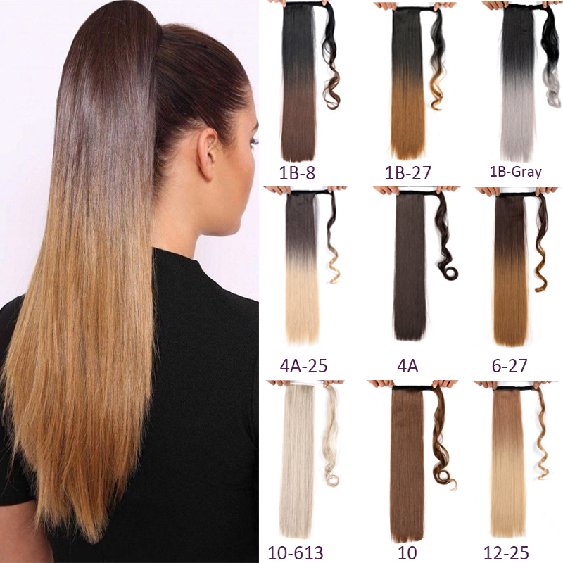 Long Straight Ponytail Ombre Hairpiece Wrap Around Ponytail Clip In Extension Drawstring Synthetic False Hair Ponytails Msglamor