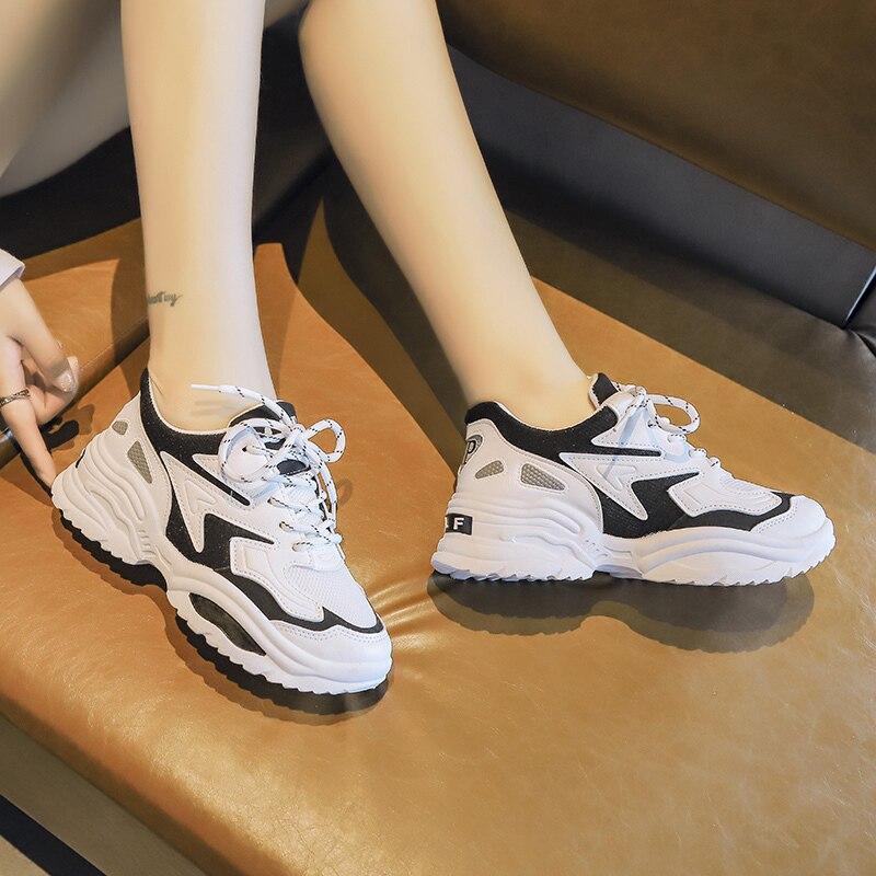 Women 39 s Chunky Sneakers 2019 Fashion Women Platform Shoes Lace Up Pink Vulcanize Shoes Womens Female Trainers Dad Shoes in Women 39 s Vulcanize Shoes from Shoes
