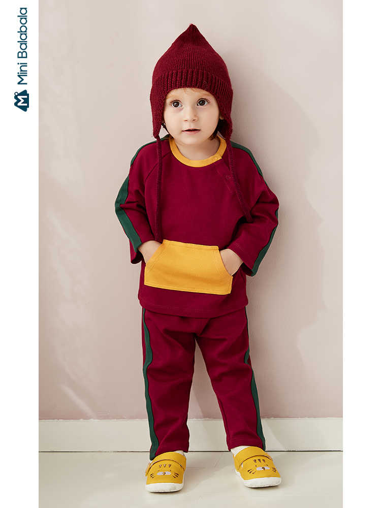Minibalabala Baby long sleeve clothes suit 2019 autumn new girls and boys baby sports hit color two-piece suit