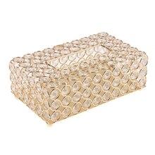 Хрустальная коробка для салфеток для лица с кристаллами, квадратный диспенсер для салфеток, для спальни, офиса, отеля, кафе, кофейни, бара