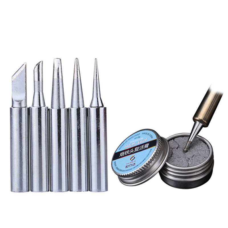 900M-T Series Lead-Free Replacement Solder Iron Head With Soldering Tips Resurrection Refresher Cream Clean Paste Rework Tool