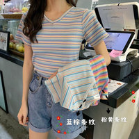 Short Sleeve T shirt Women's 2019 Summer New Style Rainbow Stripes Slim Fit Slimming Thin Knitted Korean style Online Celebrity
