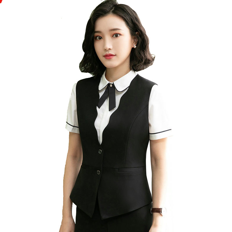 Formal Wave V-Neck Women's Vest 2020 New Spring Elegant Slim Black Female Sleeveless Jacket Plus Size Work Waistcoat Summer Vest