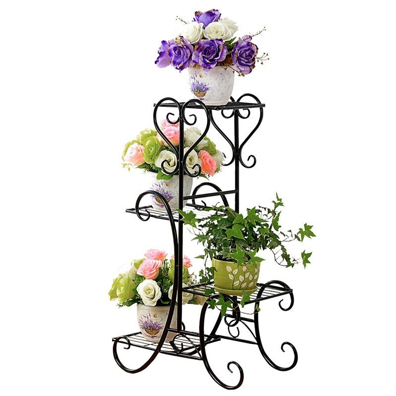 Wrought Iron Multilayer Flower Other Solid Wood Flowerpot Wearing Sitting Room Balcony Indoor Floor Type Multifunctional Showy S